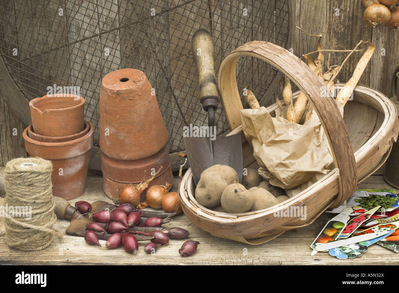 Rustic Potting Shed Still Life With Garden Tools Onion