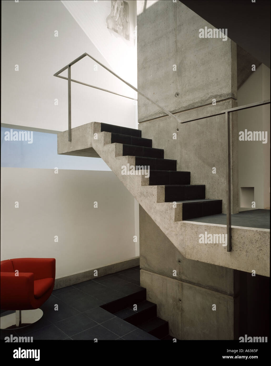 The Tall House Interior Of The Stairwell With Concrete Stairs   Interior Concrete Stairs Design   Architecture   House   White Matte Concrete   Urban   Dark Wood Modern