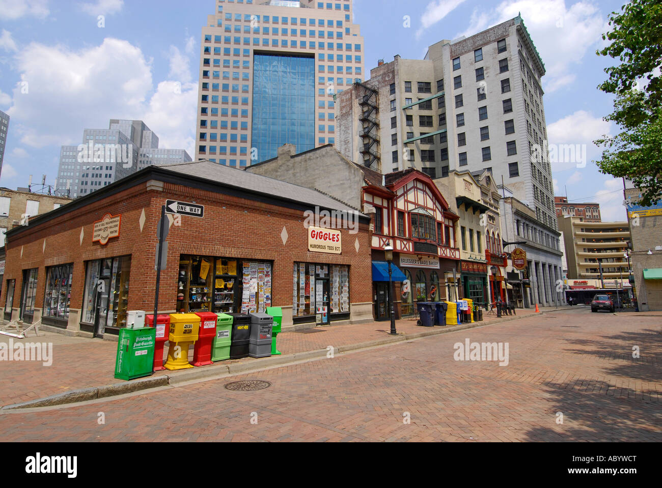 Quaint downtown shopping area in the heart of the city of ...
