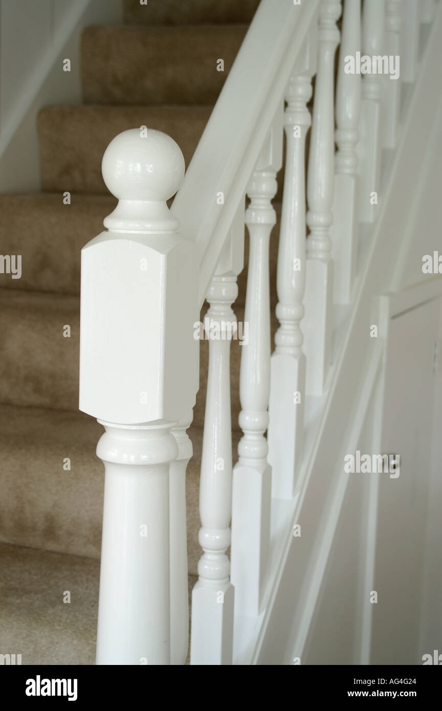Stair Spindles High Resolution Stock Photography And Images Alamy   Oak Handrail White Spindles   Stair Square Spindle   Staircase   Switchback Stair   Goes Golden Oak Staircase   Replacement