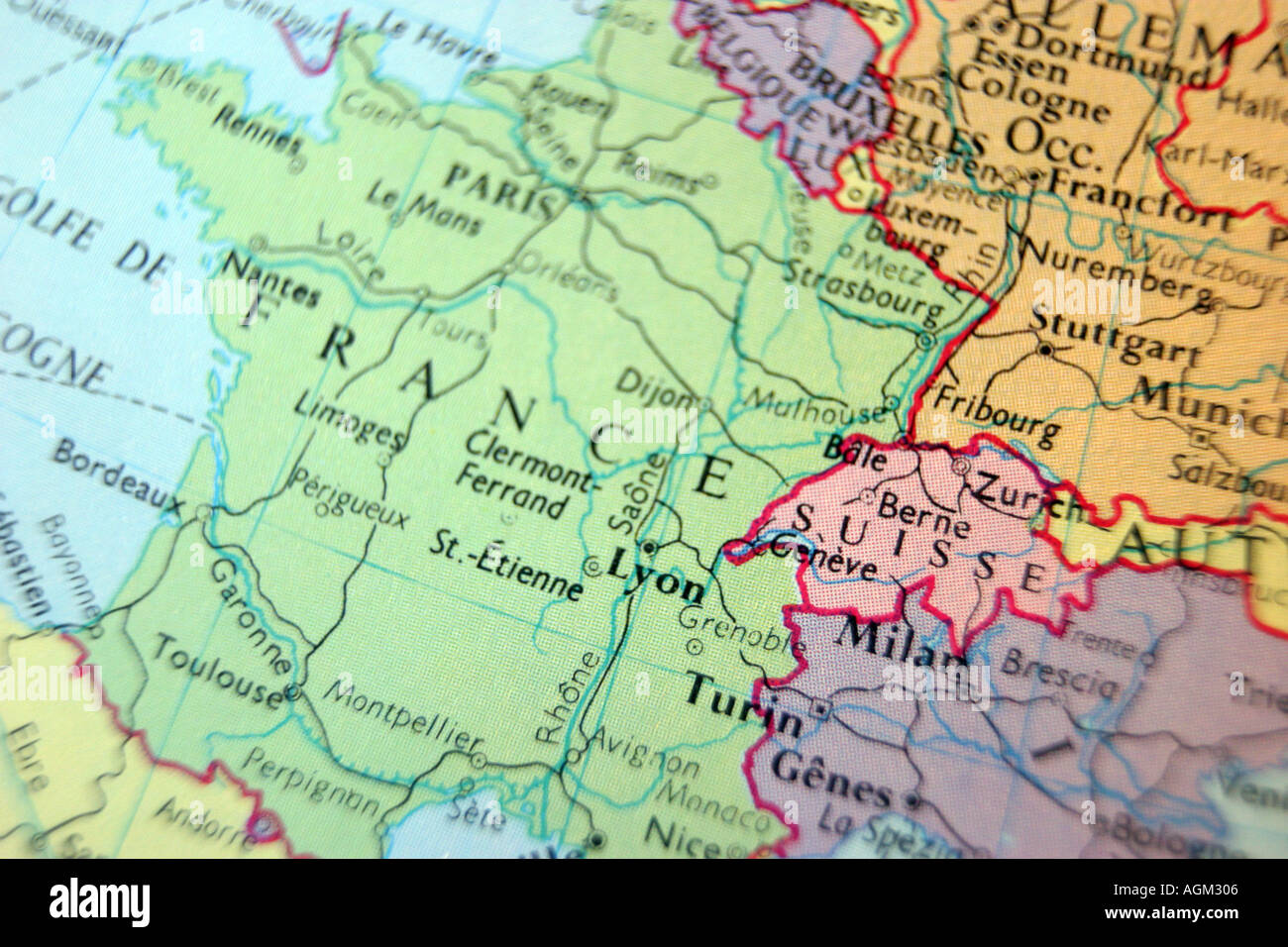 Close up map of France Stock Photo  2638597   Alamy Close up map of France