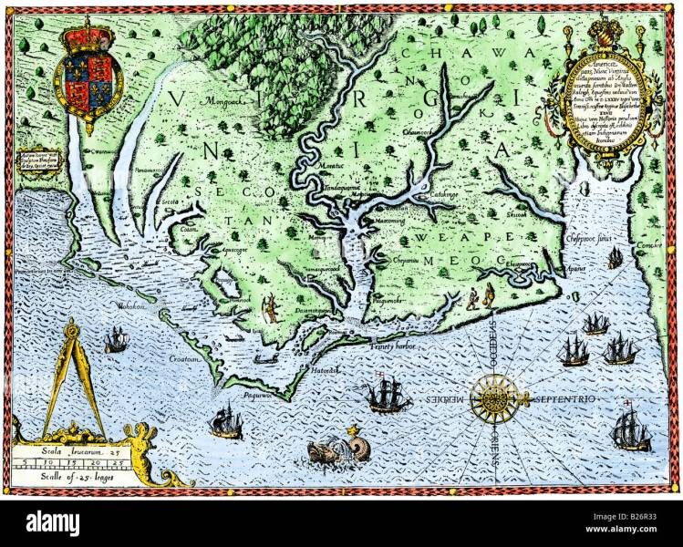 Thomas Harriot map of Virginia 1588 Stock Photo  18589511   Alamy Thomas Harriot map of Virginia 1588