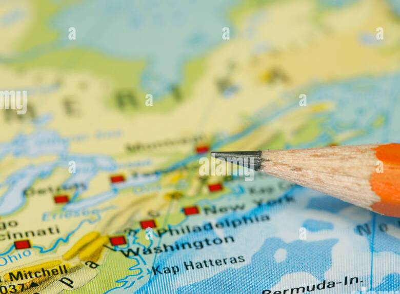 HD Decor Images » East Coast Usa Map Stock Photos   East Coast Usa Map Stock Images     Pencil tip pointing the American east coast on a map   Stock Image