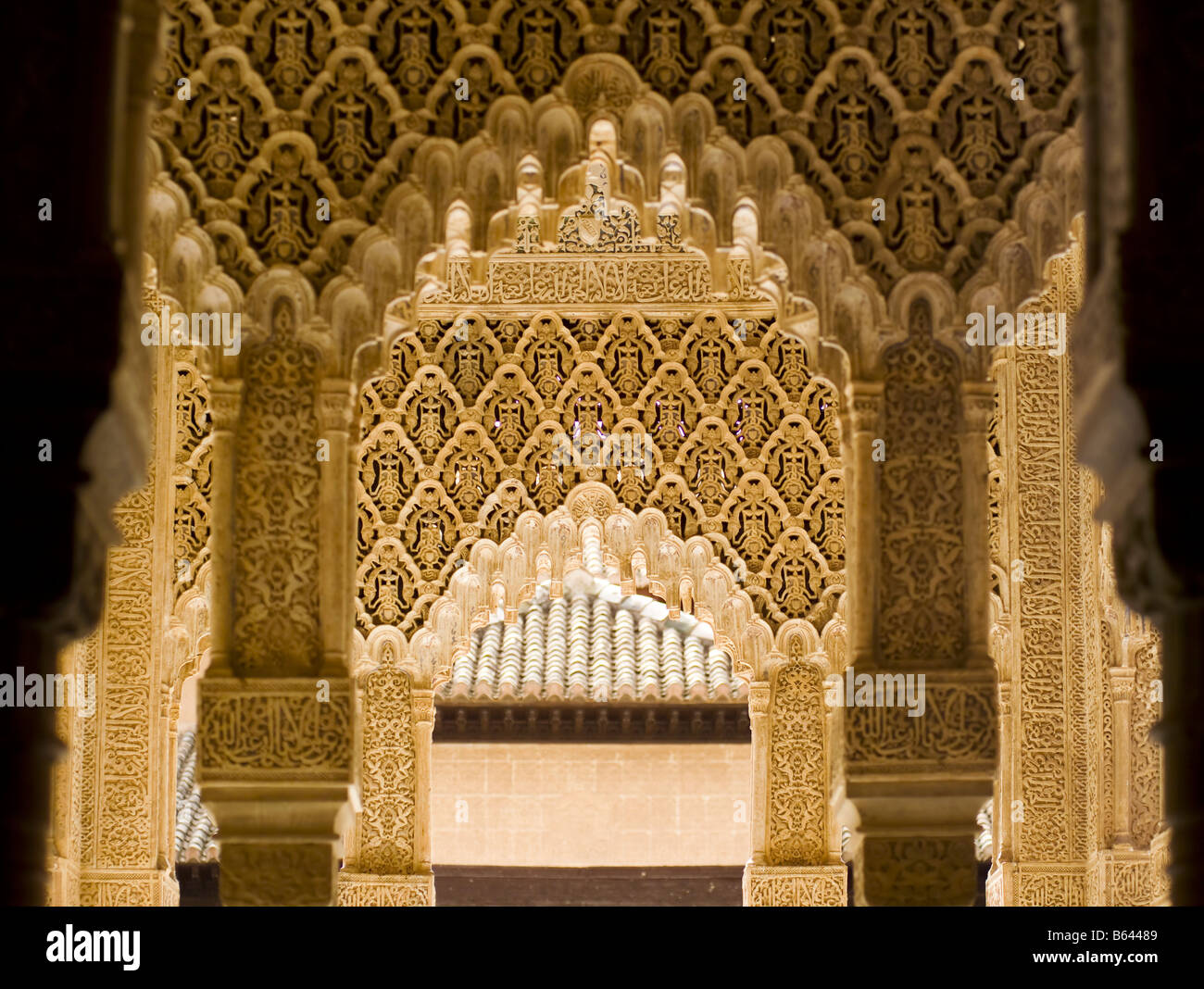 Architecture interior detail aat the Alhambra  Granada  Andalusia     Architecture interior detail aat the Alhambra  Granada  Andalusia  Spain   Europe  Licenced  Chris Kewish