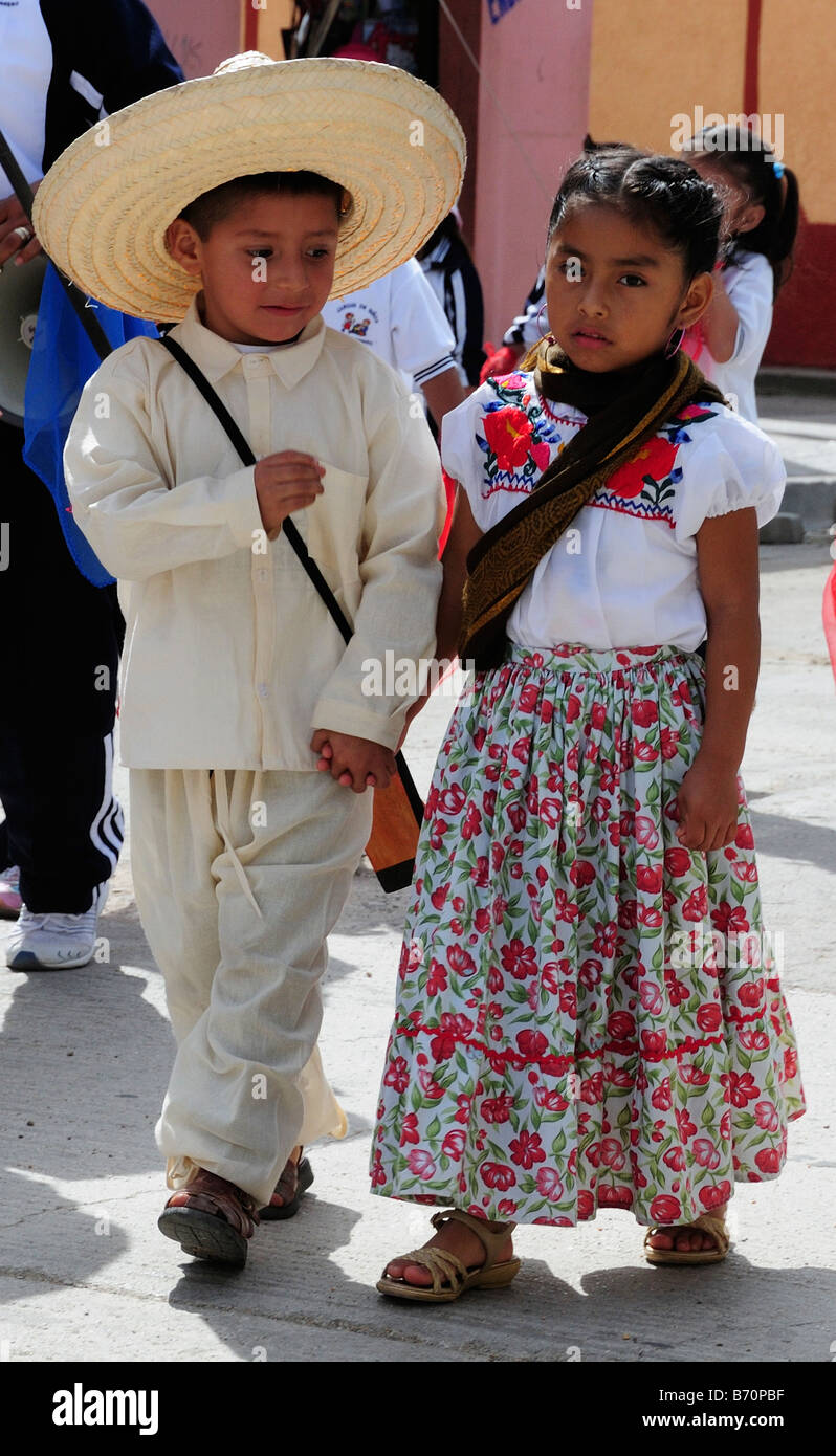 Mexican Children In National Costume Parading On
