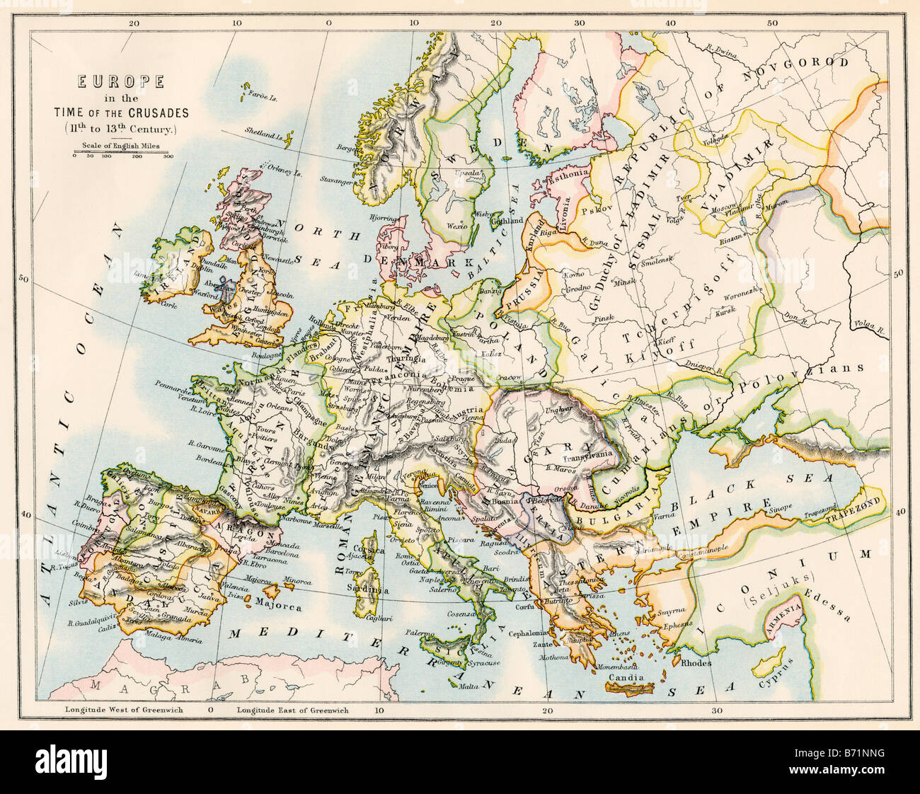 Map of Europe during the Crusades 1000 to 1200 AD Stock Photo     Map of Europe during the Crusades 1000 to 1200 AD