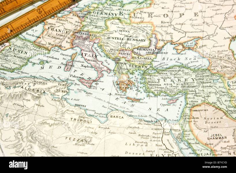 Vintage 1907 copyrighted expired map of Europe and Asia Stock Photo     Vintage 1907 copyrighted expired map of Europe and Asia