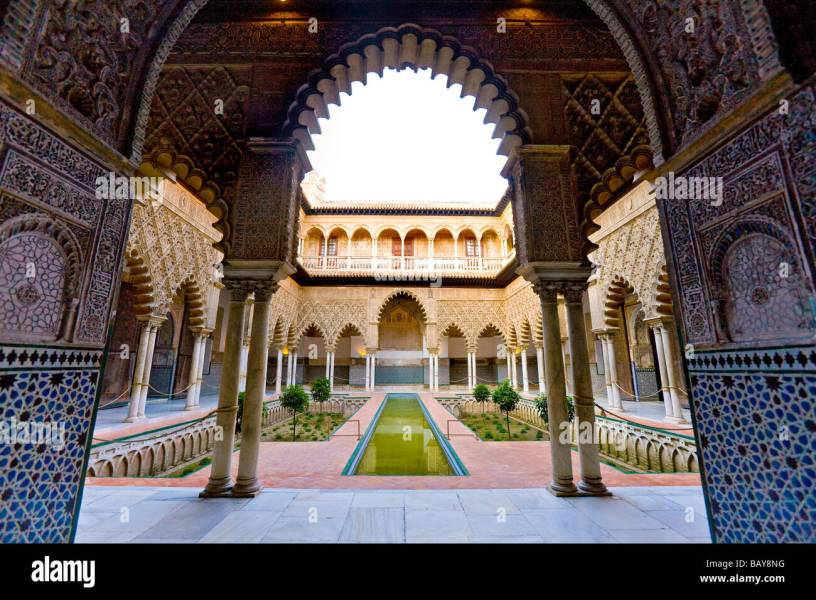 Interior view  Alcazar  Seville  Andalusia  Spain Stock Photo     Interior view  Alcazar  Seville  Andalusia  Spain