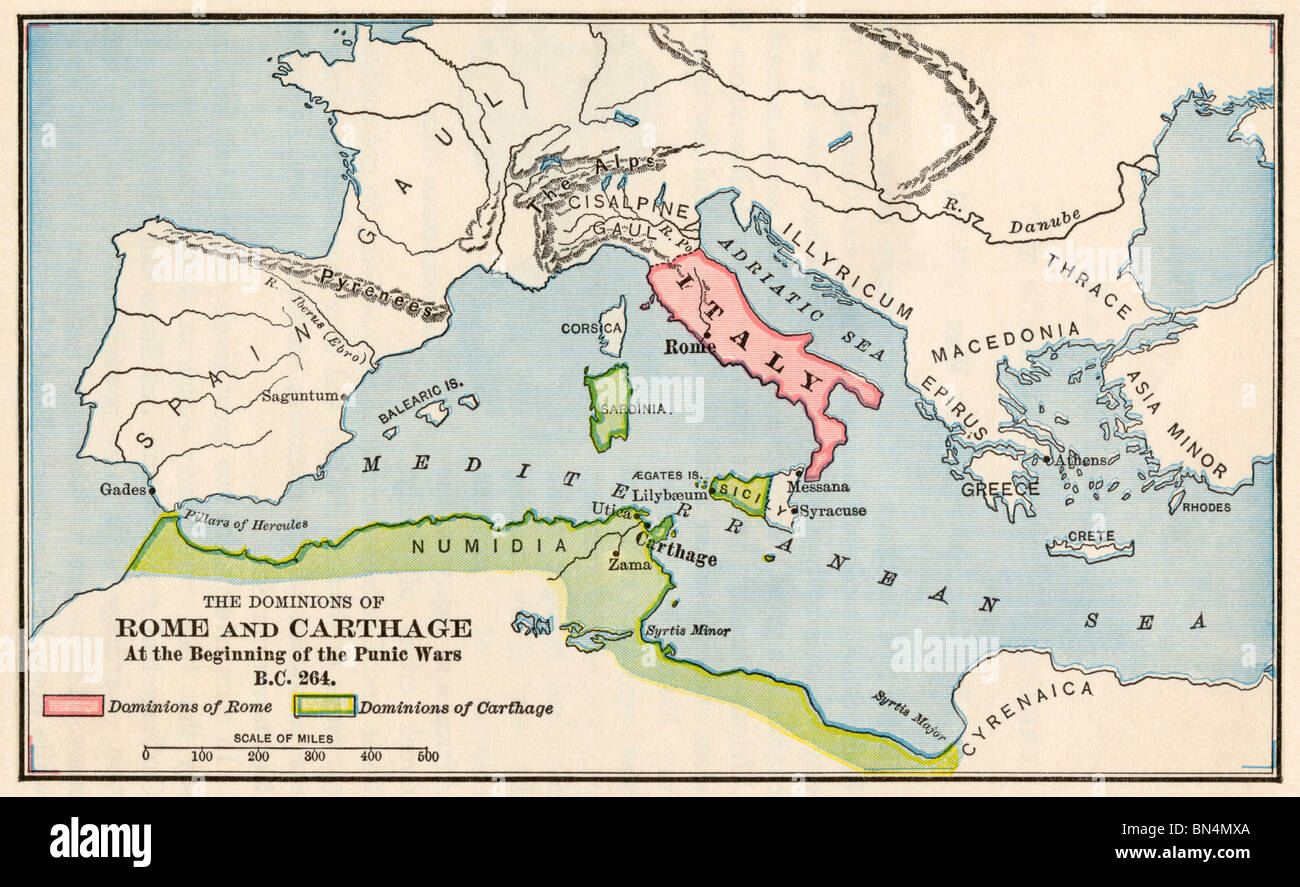 Ancient Greece Map Stock Photos   Ancient Greece Map Stock Images     Territories of Rome and Carthage at the outset of the Punic Wars  264 BC