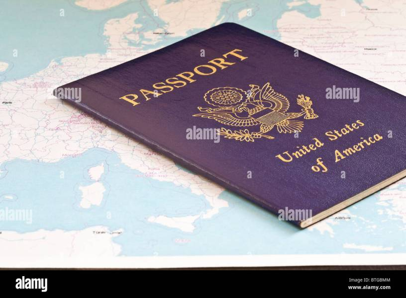 us passport on map of europe and asia Stock Photo  32322548   Alamy us passport on map of europe and asia