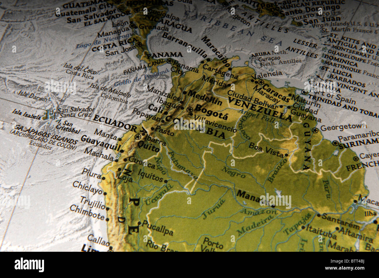 South America Map Stock Photos   South America Map Stock Images   Alamy Map of Venezuela and Colombia South America   Stock Image