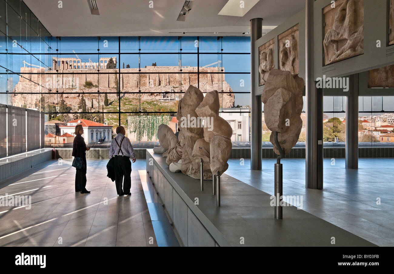 Interior Athens Parthenon Stock Photos   Interior Athens Parthenon     The Parthenon seen through the windows of the new Acropolis Museum   designed by architect Bernard