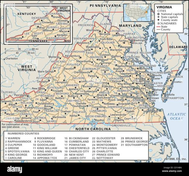 Political map of Virginia Stock Photo  34456261   Alamy Political map of Virginia