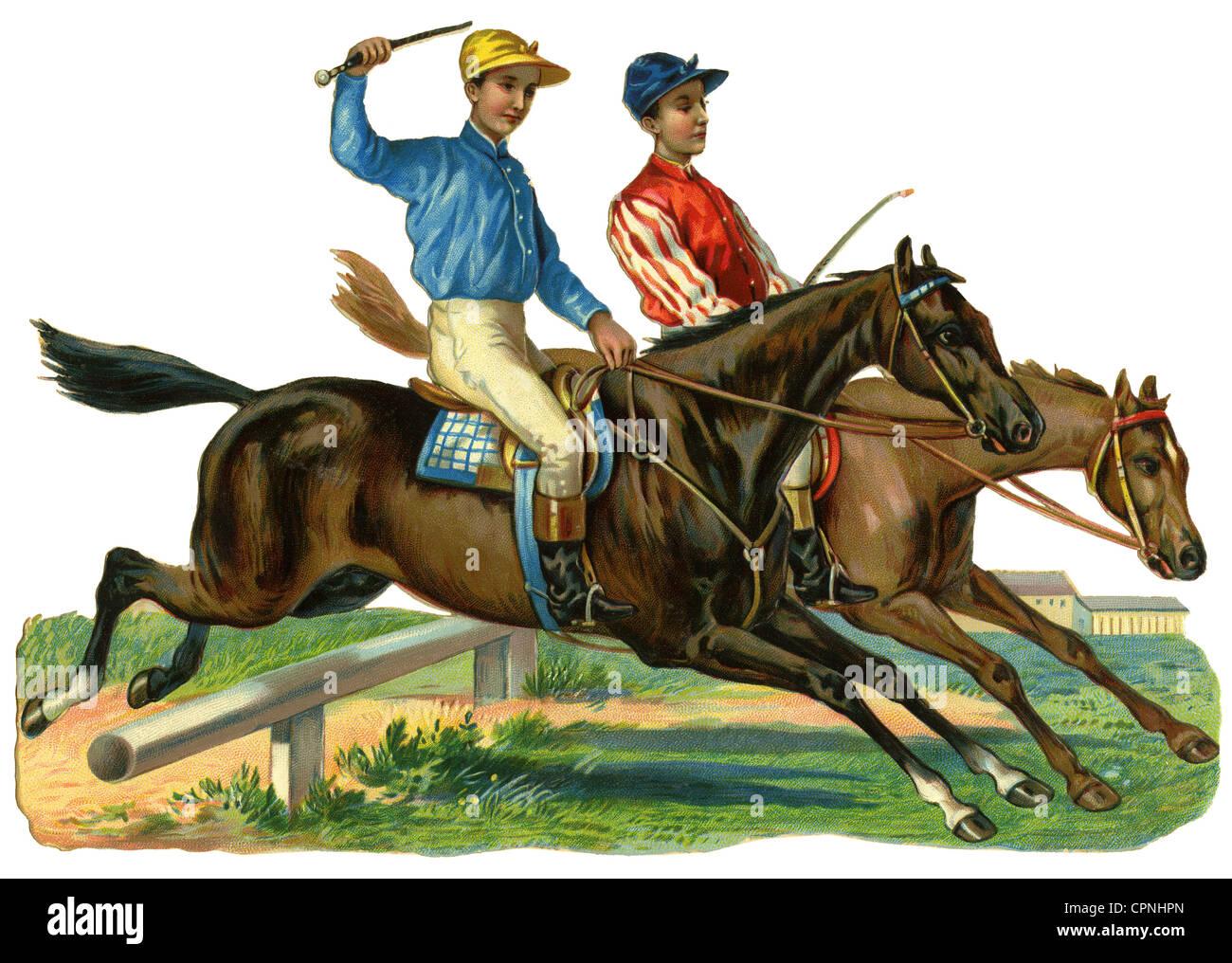 Sports Horse Riding Horse Racing Jockeys Jumping Over A