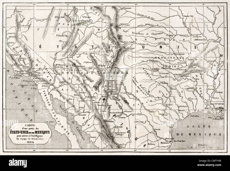Arizona Mexico Map Stock Photos   Arizona Mexico Map Stock Images     Old map of northern Mexico and south western USA   Stock Image