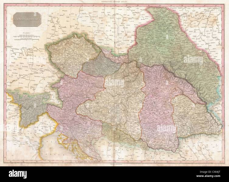 1818 Pinkerton Map of the Austrian Empire Stock Photo  50537168   Alamy 1818 Pinkerton Map of the Austrian Empire