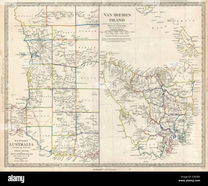 Western Australia Map Stock Photos   Western Australia Map Stock     1849 S D U K  Map of Tasmania or Van Diemen s Land and Western Australia    Stock Image