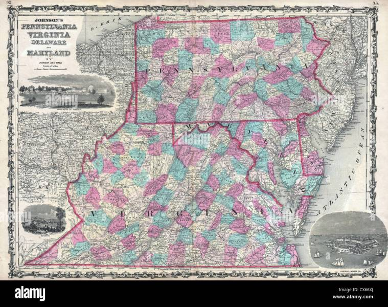 1862 Johnson Map of Virginia  Maryland  Delaware and Pennsylvania     1862 Johnson Map of Virginia  Maryland  Delaware and Pennsylvania