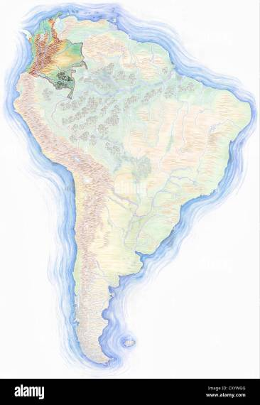 Map Of South America Stock Photos   Map Of South America Stock     Highly detailed hand drawn map of South America with Colombia highlighted    Stock Image