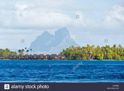 Society Islands, French Polynesia. View of Bora Bora from ...