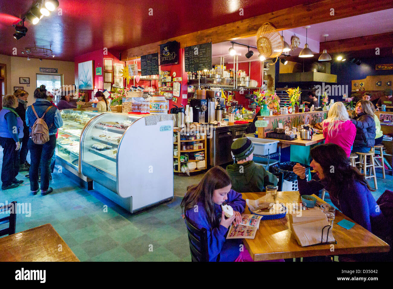 Interior view of customers at the Two Sisters Bakery   cafe  Homer     Interior view of customers at the Two Sisters Bakery   cafe  Homer  Alaska   USA