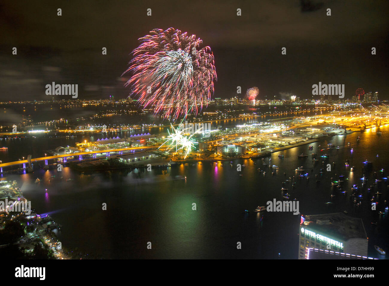 Miami Florida New Year s Eve fireworks celebration Port Boulevard     Miami Florida New Year s Eve fireworks celebration Port Boulevard Bridge  aerial view from Southeast Financial Center centre skyl