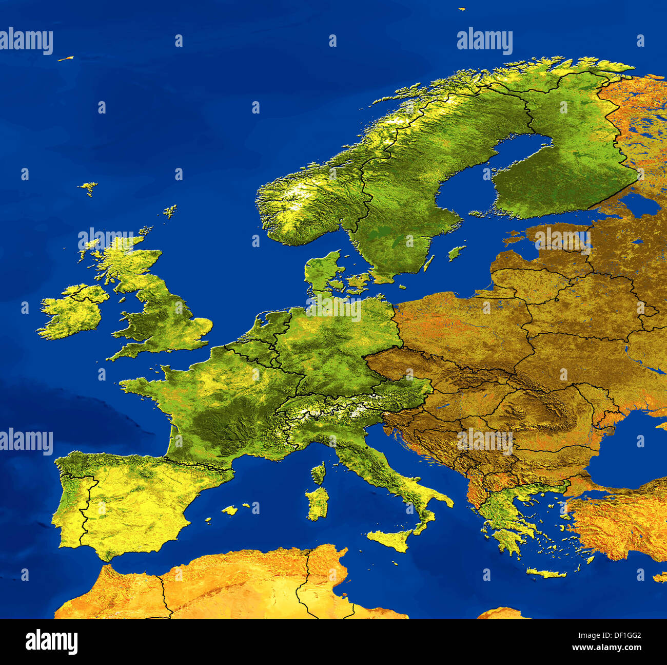 And Coordinates Topography Map Europe