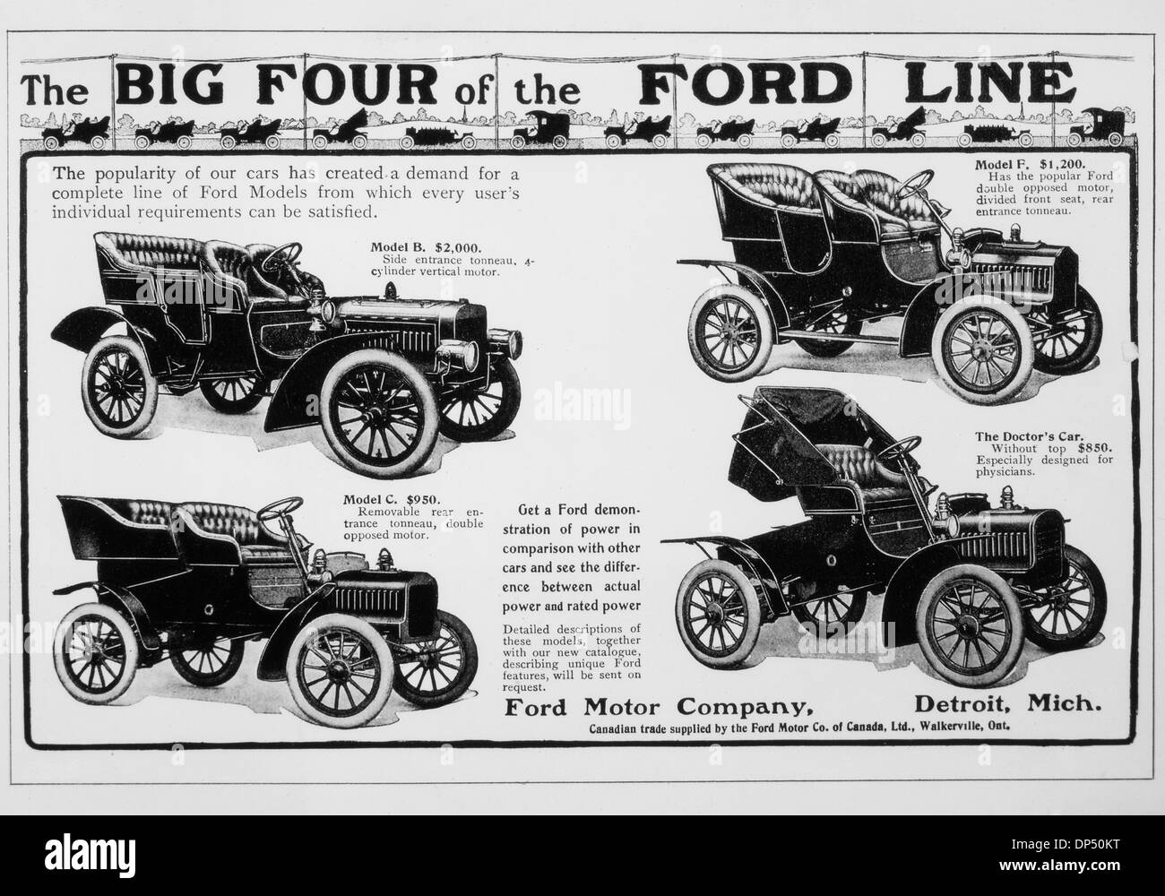 Ford Motor Company Vintage Advertisement Featuring the Big Four     Ford Motor Company Vintage Advertisement Featuring the Big Four  Automobiles  circa 1909