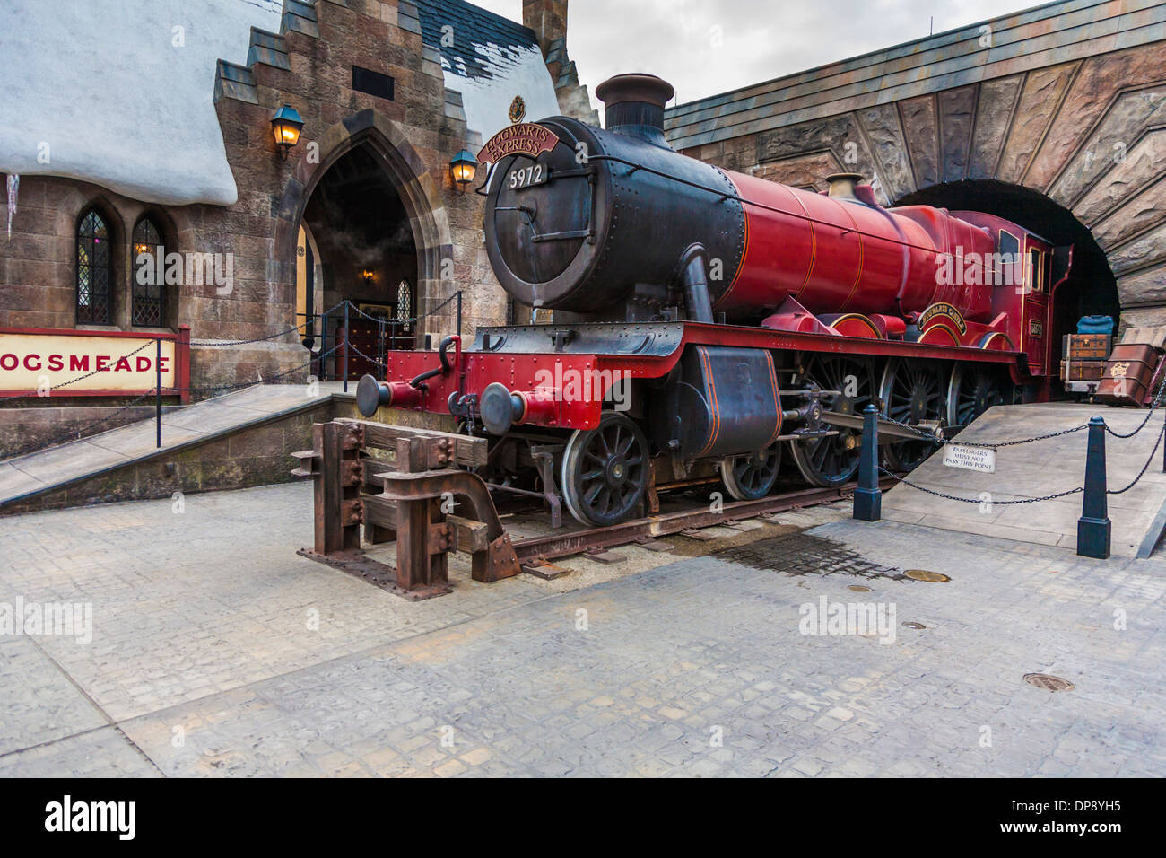 Hogwarts Express train at the Hogsmeade station in The ...