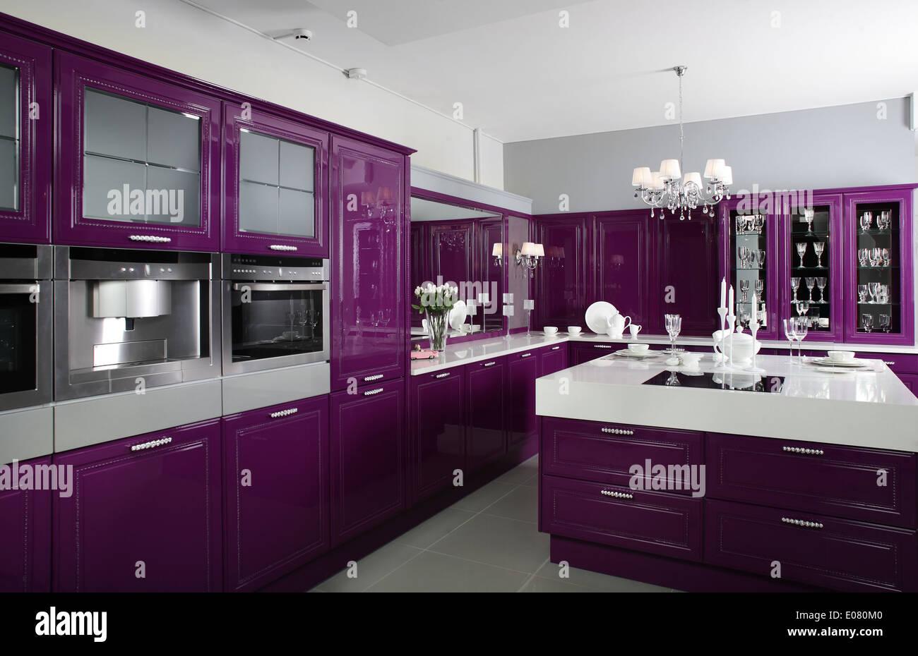 Best Kitchen Gallery: Luxury Purple Kitchen Interior With Modern Furniture Stock Photo of Purple Kitchen Interior Design on rachelxblog.com