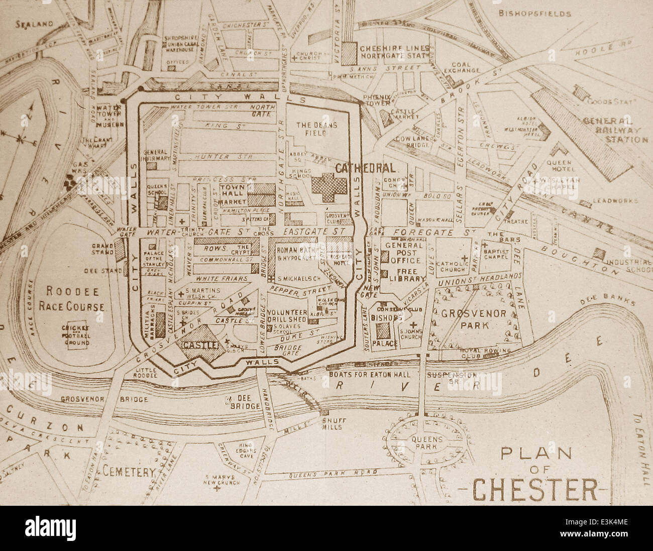 Map of Chester early 1900s Stock Photo  71106238   Alamy Map of Chester early 1900s