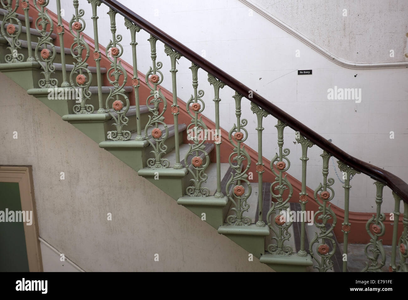 Old Cast Iron Staircase Empty Gloomy Old Building Stock Photo Alamy   Cast Iron Staircase Railing   Modern   Grill   Rod Iron   Floor   Interior