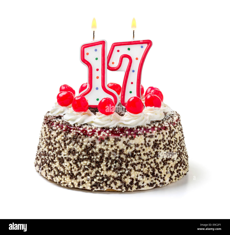 Birthday Cake With Burning Candle Number 17 Stock Photo