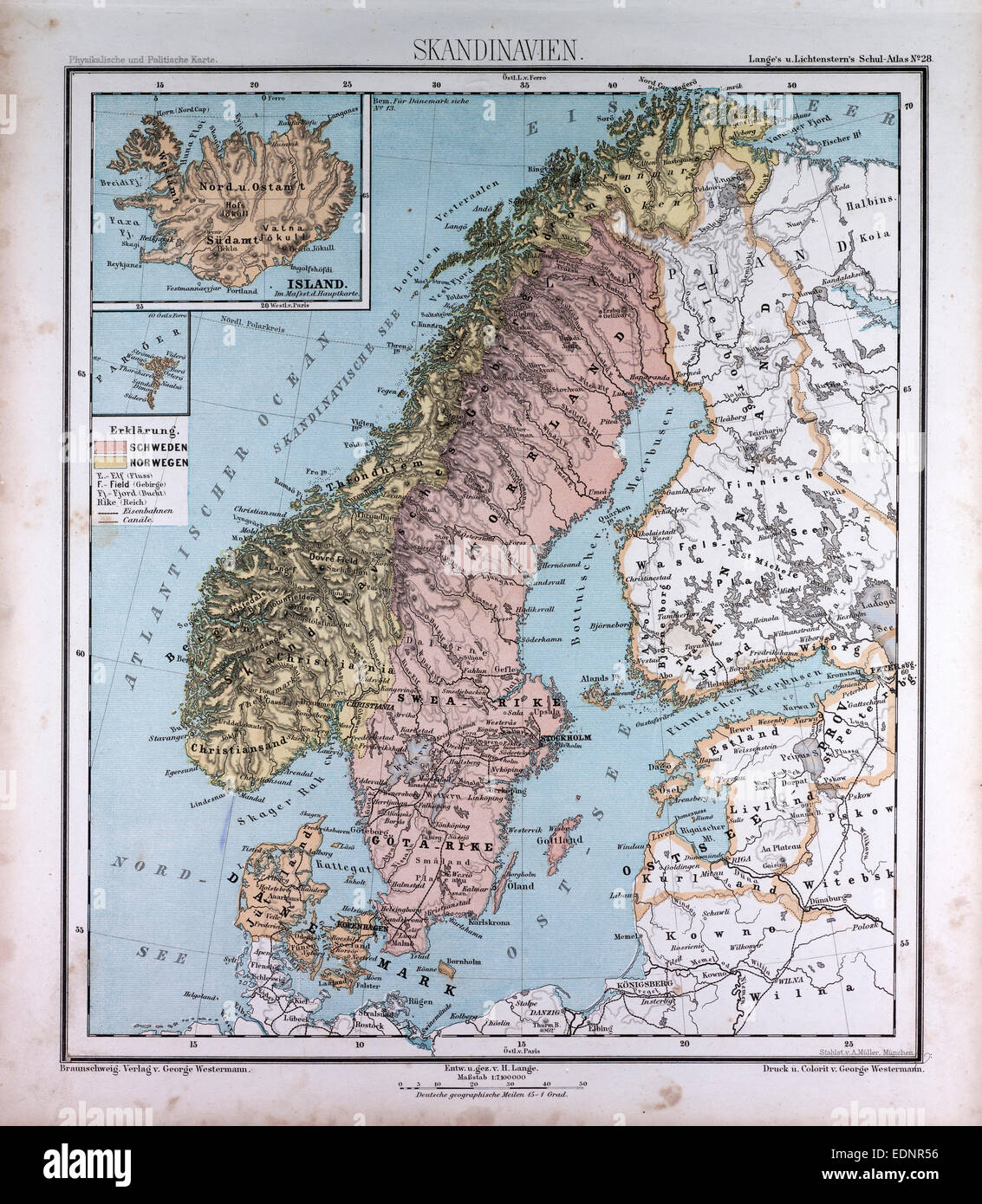 Scandinavia  Northern Europe  atlas by Th  von Liechtenstern and     Scandinavia  Northern Europe  atlas by Th  von Liechtenstern and Henry  Lange  antique map 1869