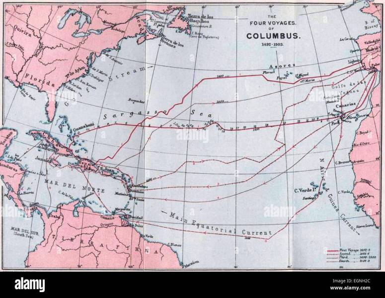 Map of The Four Voyages of Columbus 1492 1503 Stock Photo  79150356     Map of The Four Voyages of Columbus 1492 1503