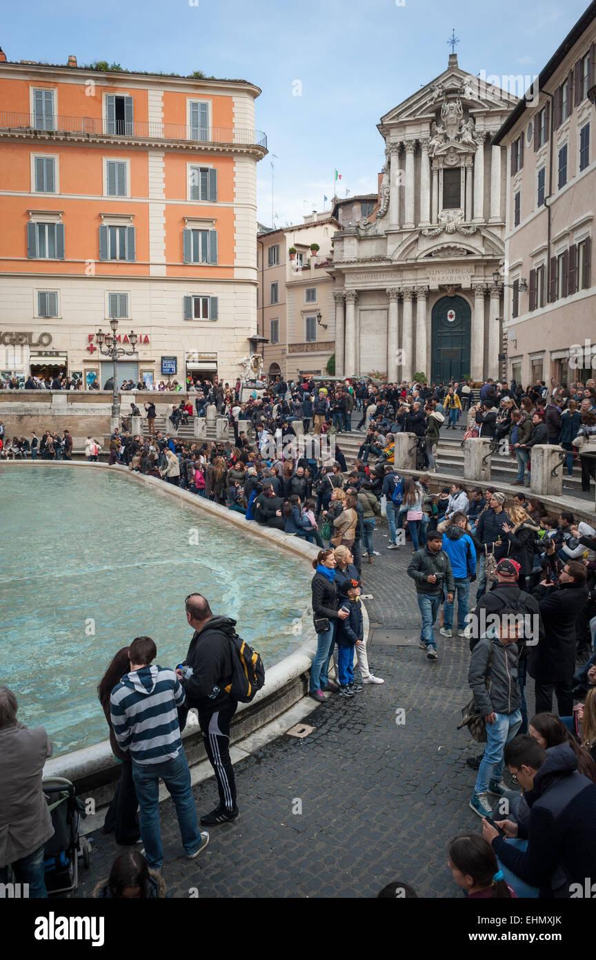 Black Piazza Di Trevi Rome Italy