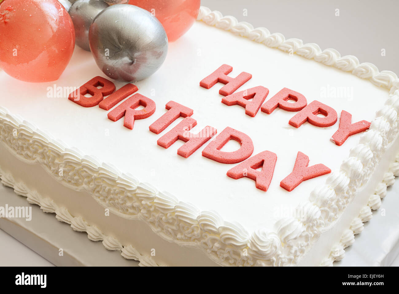 Details Of A Happy Birthday Cake On White Background