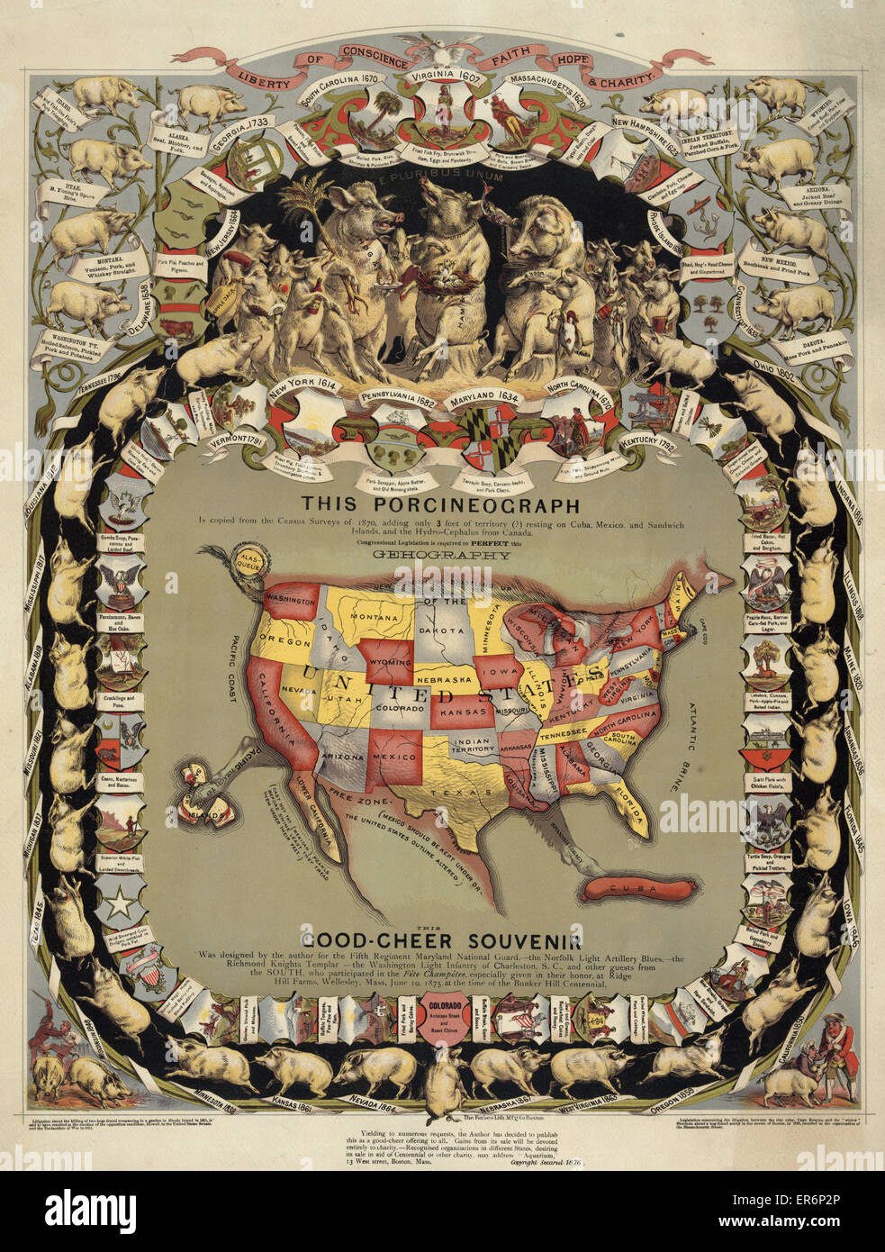 This porcineograph  Map of the United States in shape of a pig Stock     Map of the United States in shape of a pig  surrounded by pigs representing  the different states  with notations of state foods  c1876