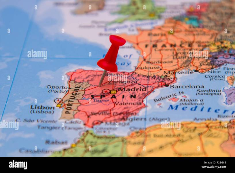 Map of Spain with a red pushpin stuck Stock Photo  87535350   Alamy Map of Spain with a red pushpin stuck