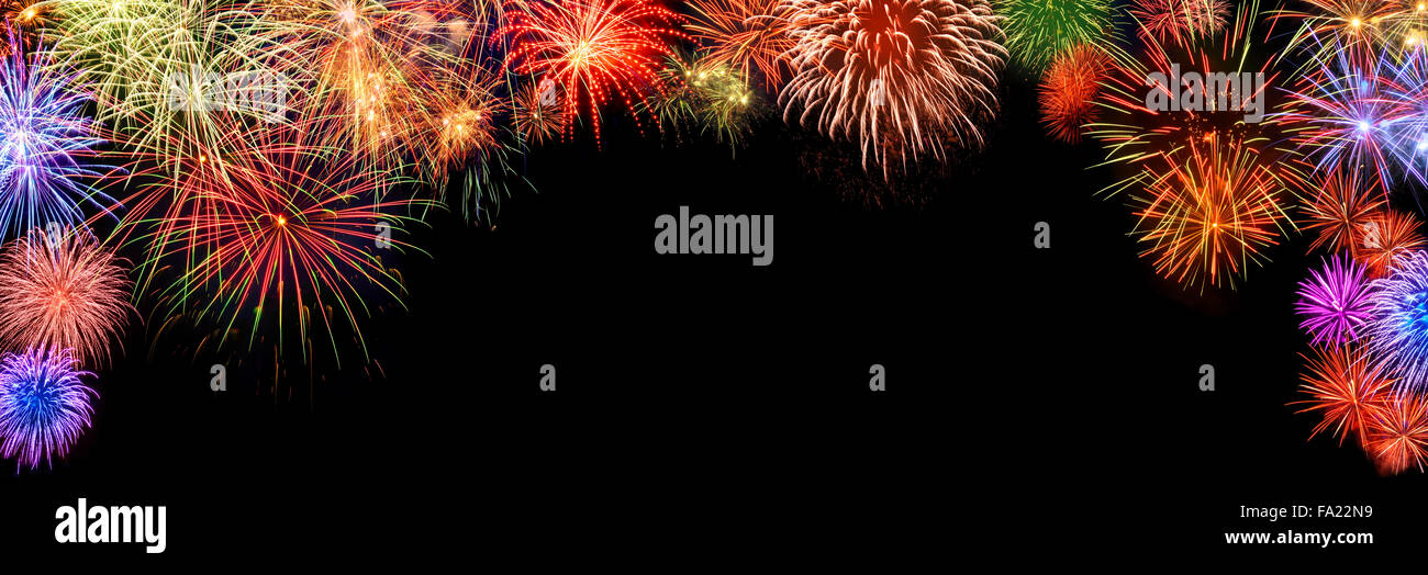 New Year Border Stock Photos   New Year Border Stock Images   Alamy Spectacular multi colored fireworks as a panoramic arch shaped border on  black background  ideal
