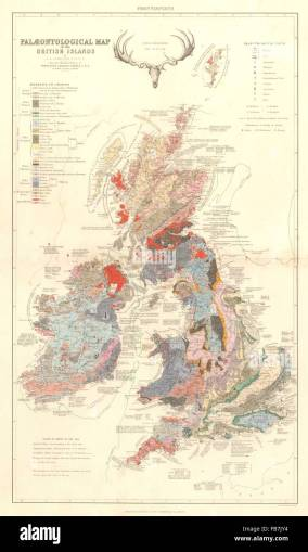 BRITISH ISLES  Palaentological and Geological Map  1850 Stock Photo     BRITISH ISLES  Palaentological and Geological Map  1850