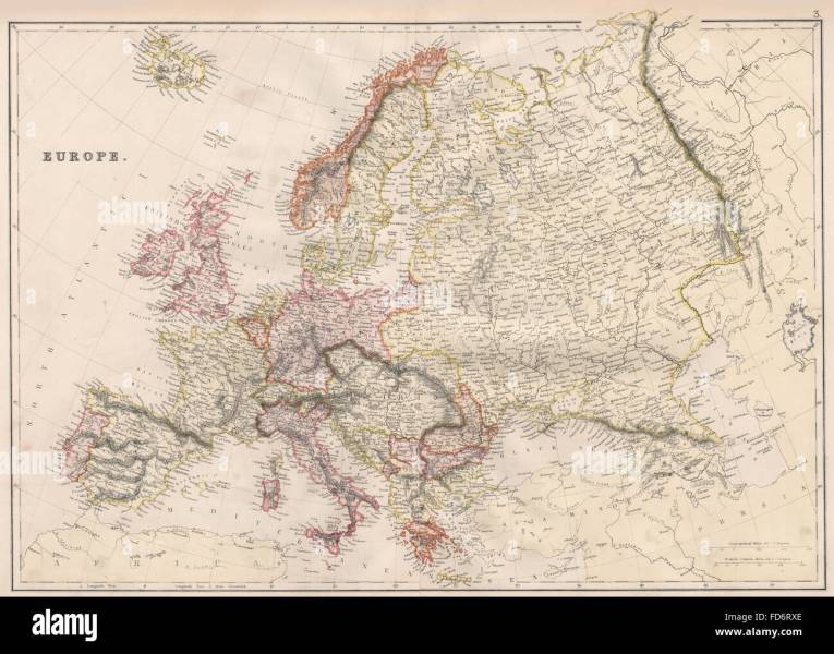 EUROPE POLITICAL  Russia excludes Georgia  BLACKIE  1882 antique map     EUROPE POLITICAL  Russia excludes Georgia  BLACKIE  1882 antique map