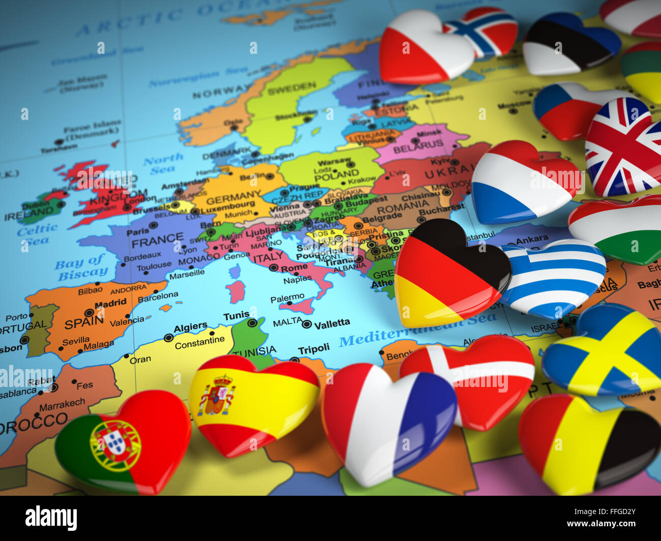 Travel EU concept  Map of Europe and hearts with flags of european     Travel EU concept  Map of Europe and hearts with flags of european countries   3d