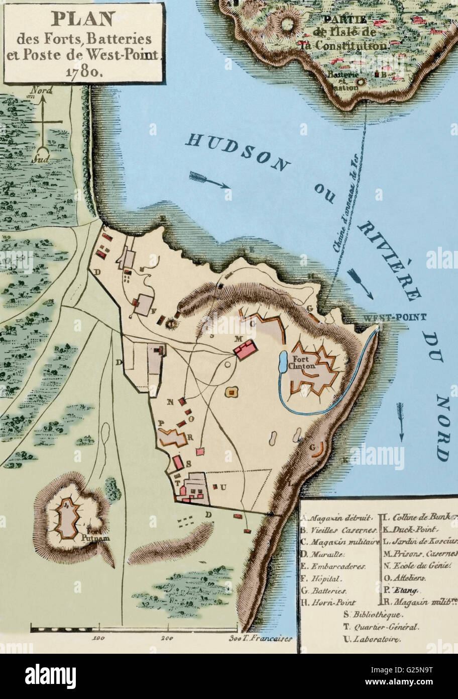American Revolutionary War  1775 1783   Map of the defense network     American Revolutionary War  1775 1783   Map of the defense network at West  Point  including the Great Chain  Constitution Island  Fort Clinton