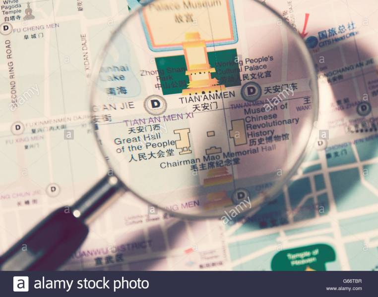 Beijing Map Stock Photos   Beijing Map Stock Images   Alamy magnifyng lens on Beijing map   Stock Image