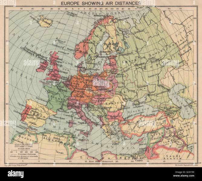 Europe Map 1940 Stock Photos   Europe Map 1940 Stock Images   Alamy SECOND WORLD WAR  Europe showing air distances  Occupied Poland  1940 old  map