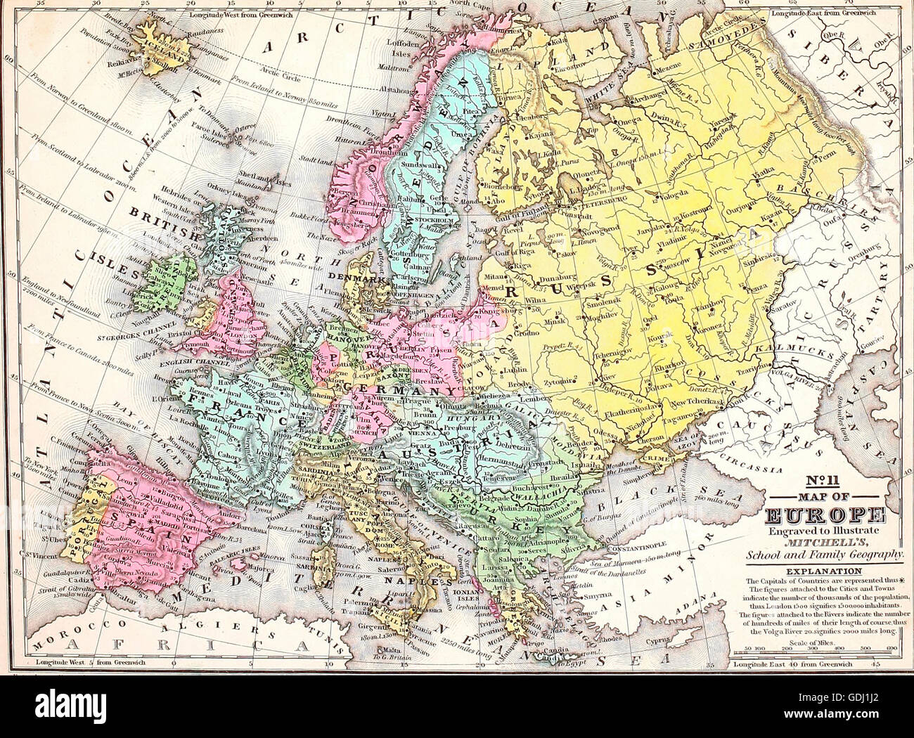 Map of Europe  circa 1860 Stock Photo  111649162   Alamy Map of Europe  circa 1860