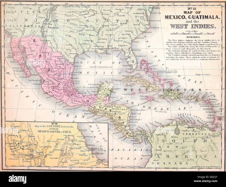 Mexico Map Stock Photos   Mexico Map Stock Images   Alamy Map of Mexico  Guatimala  and the West Indies circa 1840   Stock Image