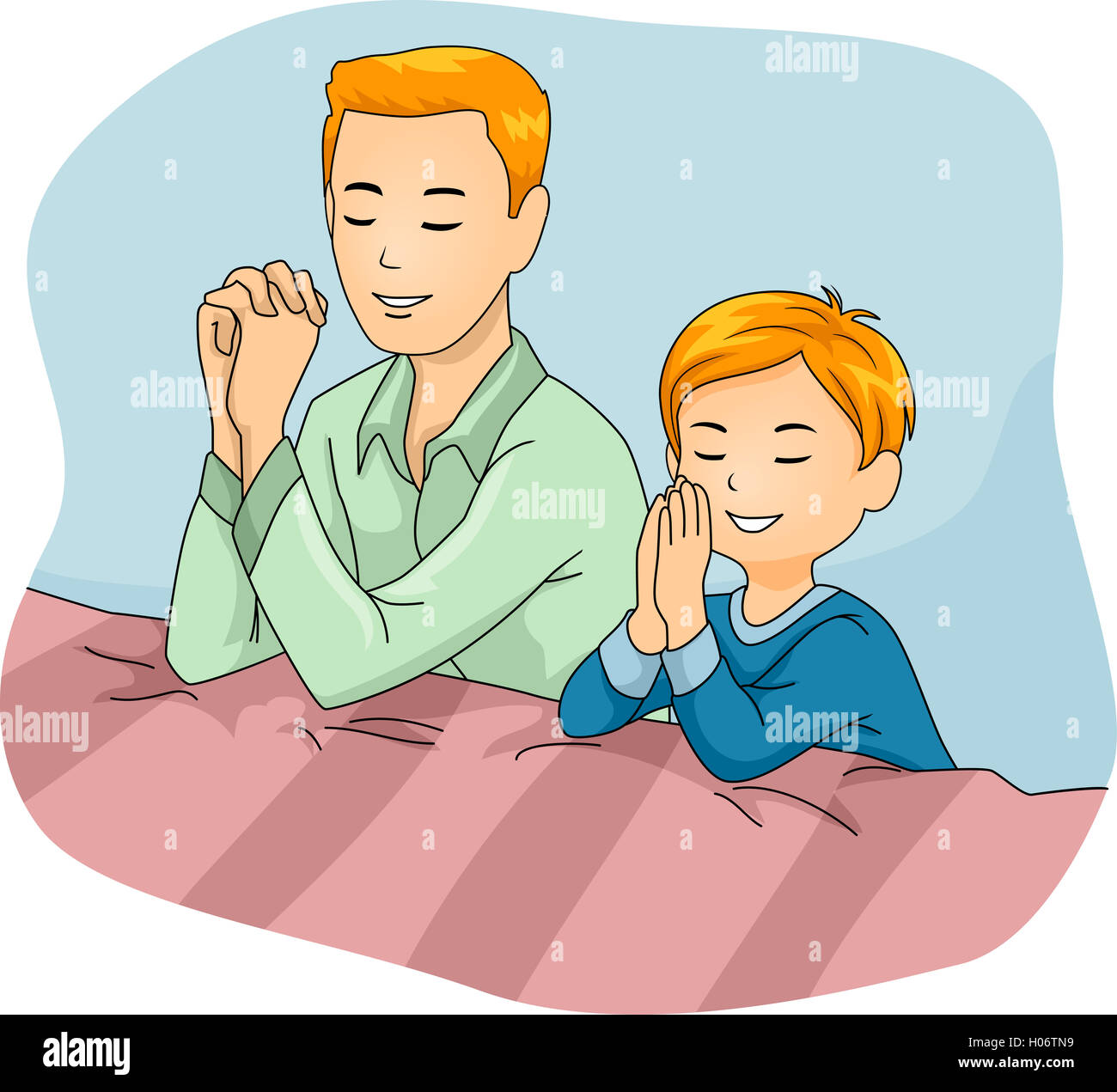 Illustration of a Father and Son Praying Together Stock ...