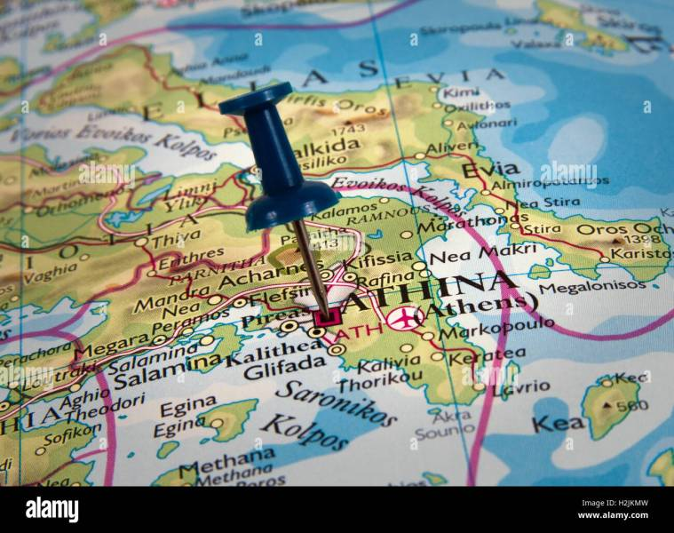 Greece Map Pin Stock Photos   Greece Map Pin Stock Images   Alamy Athens in the map with pin   Stock Image
